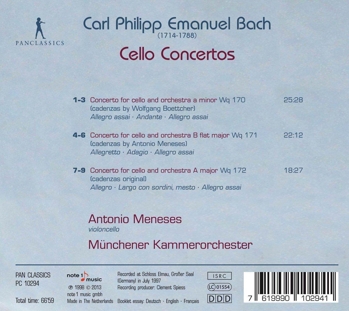 Meneses Bach Cello concertos back