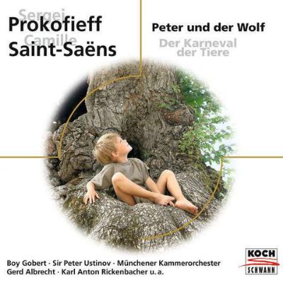 CD-Cover von Prokofieffs Peter und der Wolf mit Sir Peter Ustinov und dem Münchener Kammerorchester